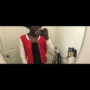 Red and white varsity jacket